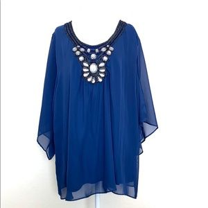 Moa Moa blue blouse with embellished neck